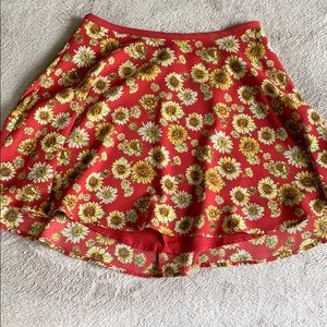 Red yellow flower floral skater skirt circle girls